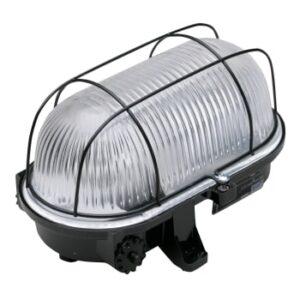 Skotlampe med gitter sort E27 Elministeren